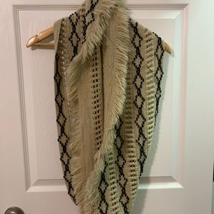 Tan and Black Fringe Infinity Scarf